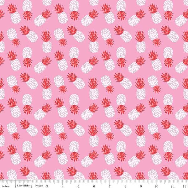 Pink Red and White Tossed Havana Pineapple Jersey Knit Fabric, By Patty Young For Riley Blake - Raspberry Creek Fabrics