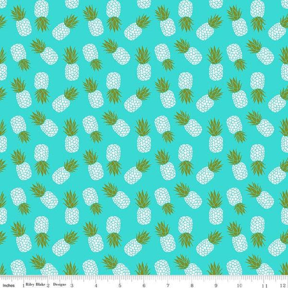 Bright Aqua Yellow Green and White Tossed Havana Pineapple Jersey Knit Fabric, By Patty Young For Riley Blake - Raspberry Creek Fabrics