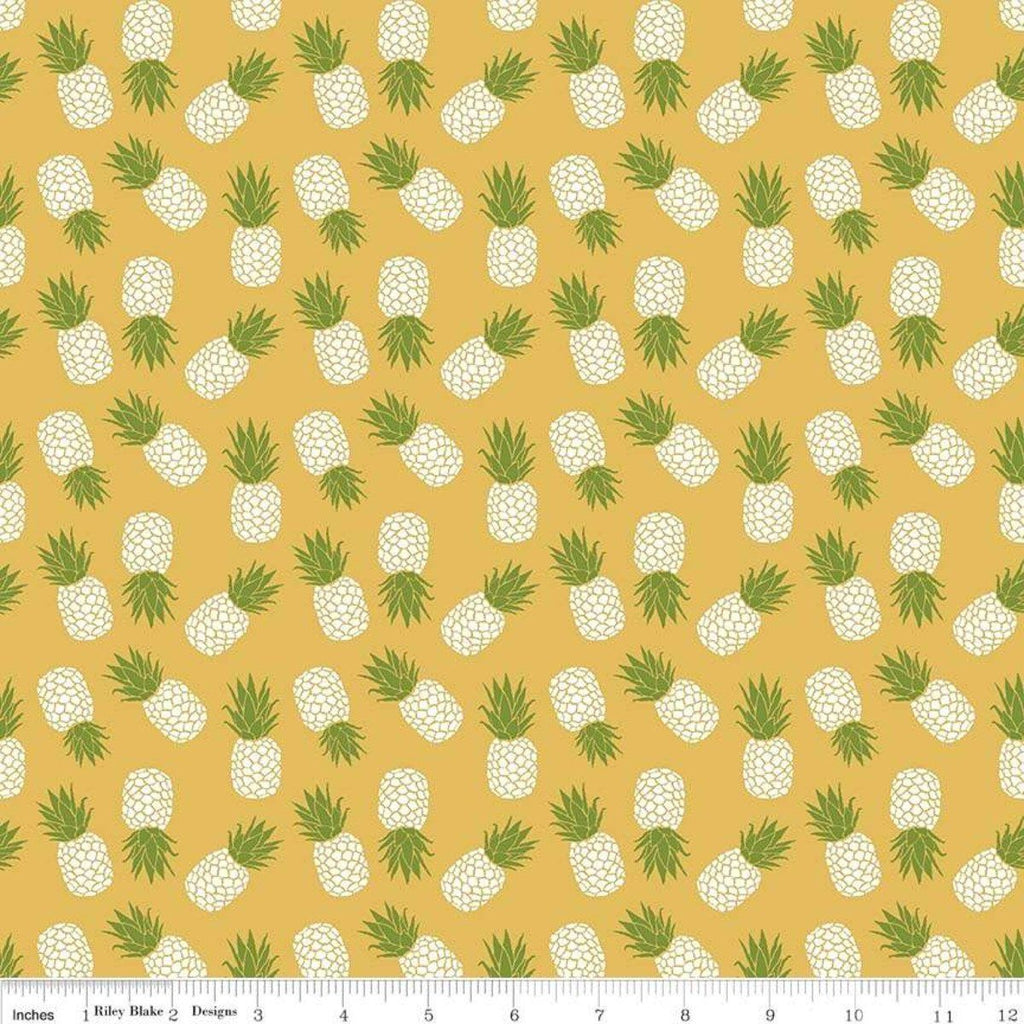 Mustard Yellow Green and White Tossed Havana Pineapple Jersey Knit Fabric, By Patty Young For Riley Blake - Raspberry Creek Fabrics