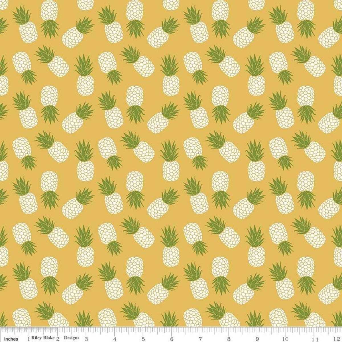 Mustard Yellow Green and White Tossed Havana Pineapple Jersey Knit Fabric, By Patty Young For Riley Blake - Raspberry Creek Fabrics Knit Fabric