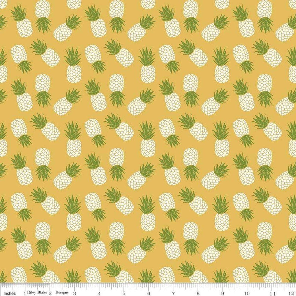 Mustard Yellow Green and White Tossed Havana Pineapple Jersey Knit Fabric, By Patty Young For Riley Blake, 1 Yard - Raspberry Creek Fabrics
