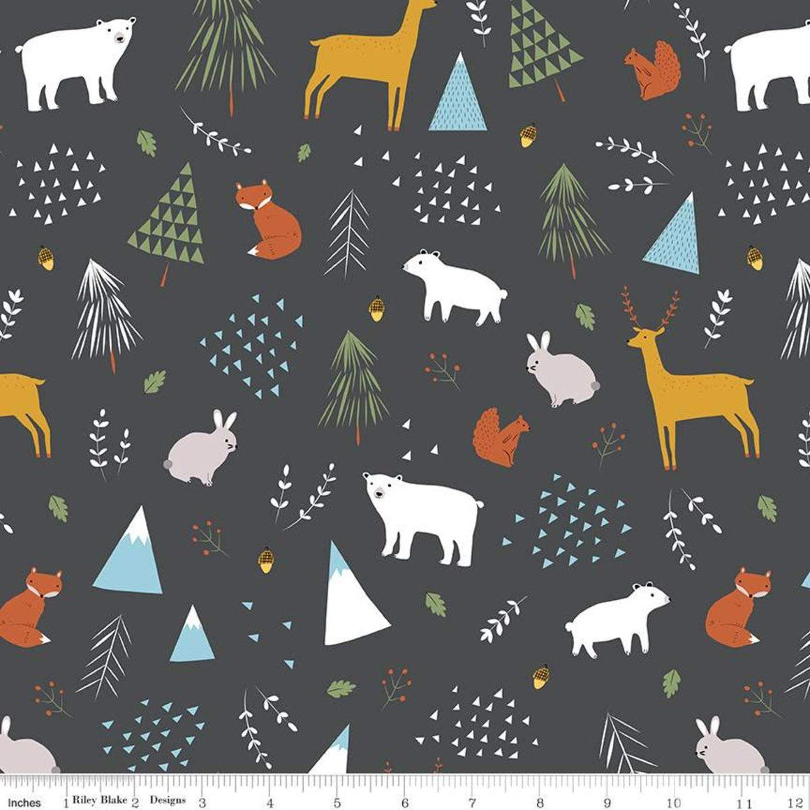 Grey Olive Mustard Light Blue and White Forest Animal Jersey Knit Fabric by Riley Blake Designs, 1 Yard - Raspberry Creek Fabrics