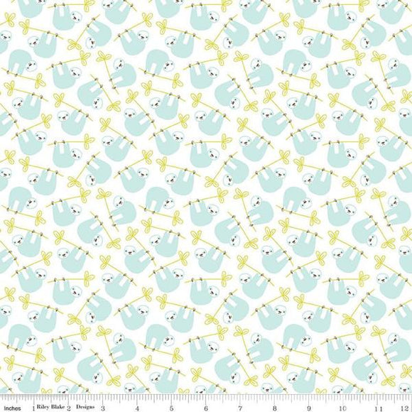 Aqua Green and White Under the Canopy Sloth Jersey Knit, By Citrus and Mint Designs for Riley Blake Designs, 1 Yard - Raspberry Creek Fabrics