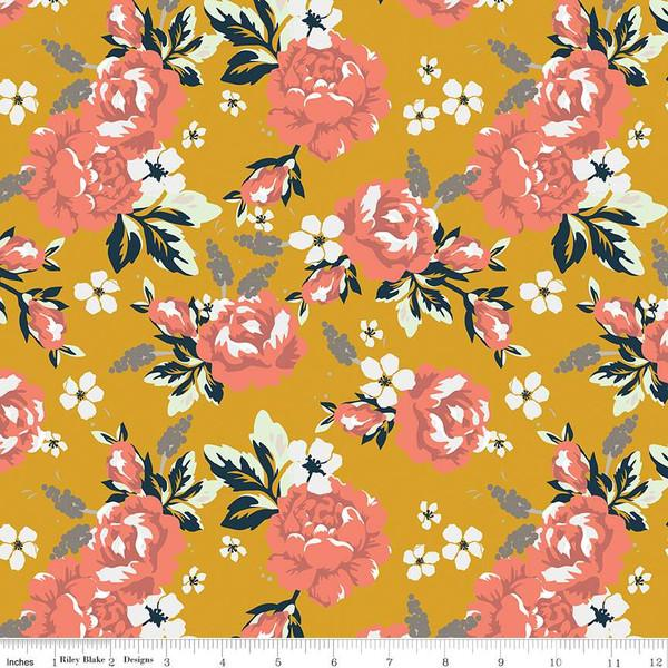 Mustard Coral Grey and White Floral Jersey Knit, Golden Days by Fancy Pants Designs for Riley Blake Designs, 1 Yard - Raspberry Creek Fabrics