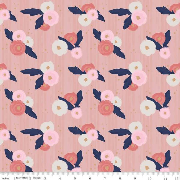 Coral Pink Navy and White Floral Sparkle Jersey Knit, By Gabrielle Neil Design Studio for Riley Blake Designs, 1 Yard - Raspberry Creek Fabrics