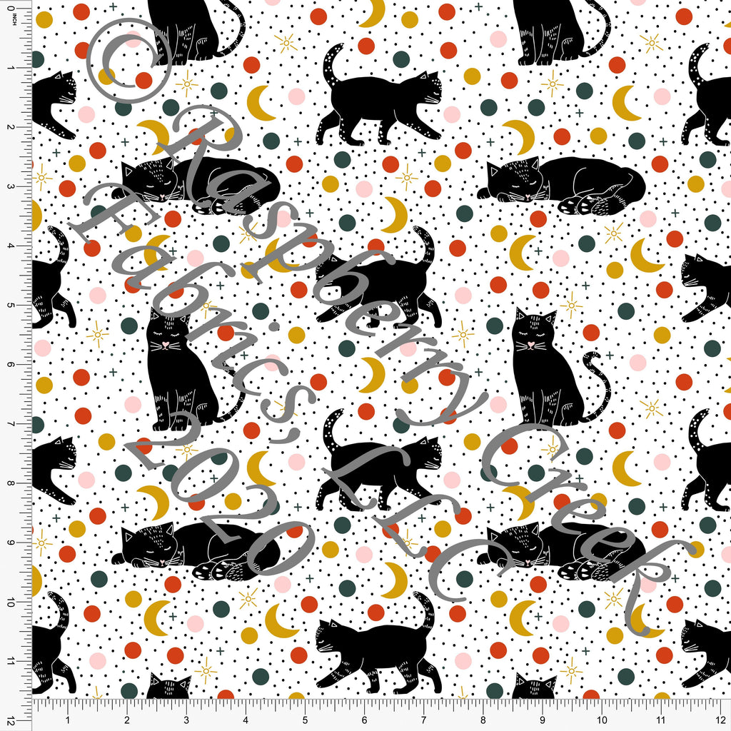 Hunter Green Rust Mustard Pink and Black Polka Dot Cats, Happy Halloween by Kimberly Henrie for Club Fabrics - Raspberry Creek Fabrics