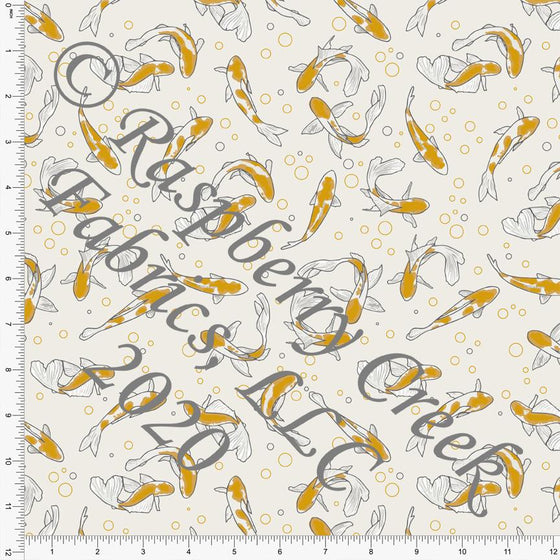 Grey Cream and Mustard Koi Fish Print Double Brushed Poly Knit Fabric, By The Pond By Lisa Mabey for CLUB Fabrics Raspberry Creek Fabrics
