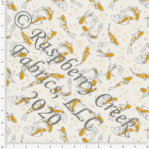 Grey Cream and Mustard Koi Fish Print Double Brushed Poly Knit Fabric, By The Pond By Lisa Mabey for CLUB Fabrics - Raspberry Creek Fabrics Knit Fabric