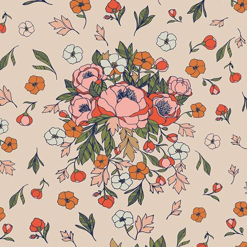 Cream Green Rust and Peach Floral Woven Cotton, Love Story by Maureen Cracknell Art Gallery, Soulmate Blooms in Flirt, 1 yard