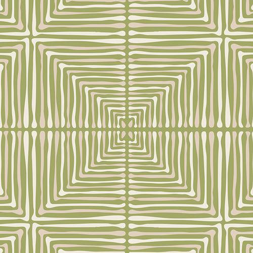 Green Beige and Cream Geometric Square Woven Cotton, Love Story by Maureen Cracknell Art Gallery, Darling Echoes in Vert, 1 yard