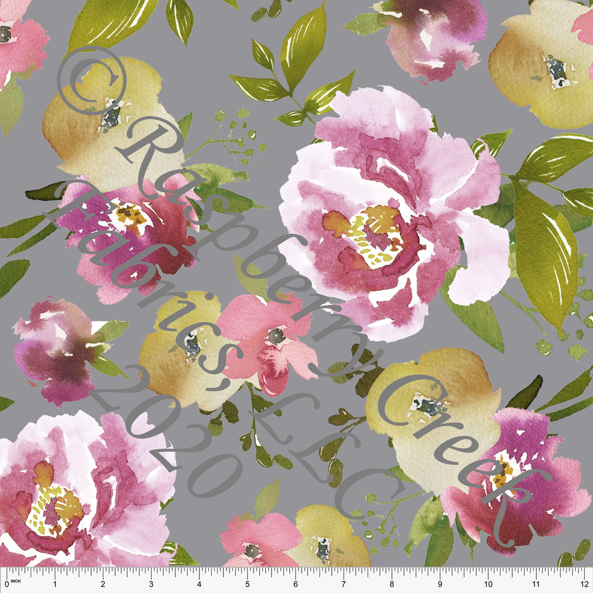 Grey Magenta Mauve and Mustard Large Watercolor Floral Print Double Brushed Poly Knit Fabric, CLUB Fabrics - Raspberry Creek Fabrics