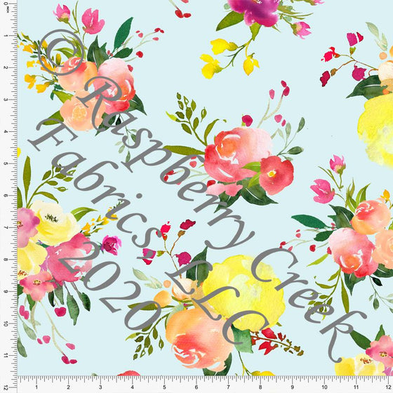 Pale Blue Yellow Fuchsia Orange and Green Large Scale Floral Print Double Brushed Poly Knit Fabric, CLUB Fabrics - Raspberry Creek Fabrics