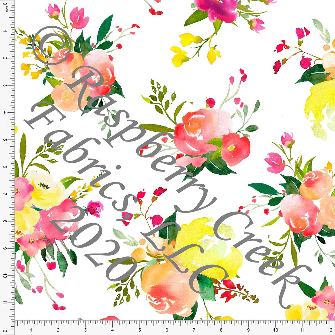 Magenta Fuchsia Yellow and Peach Large Watercolor Floral, Spring Florals for Club Fabrics - Raspberry Creek Fabrics