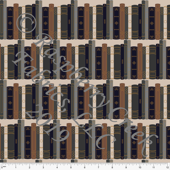 Cream Brown Green Black and Gold Library Book Stripes 4 Way Stretch Double Brushed Poly, By McKenzie Powell for CLUB Fabrics - Raspberry Creek Fabrics