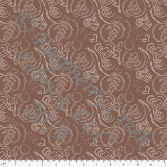 Tonal Brown Latte Art 4 Way Stretch Double Brushed Poly, By McKenzie Powell for CLUB Fabrics - Raspberry Creek Fabrics