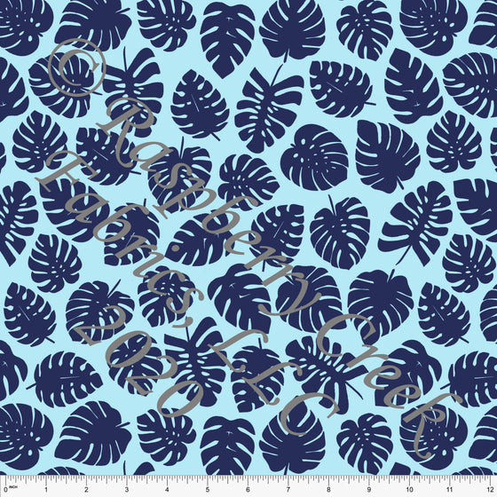 Light Blue and Navy Palm Leaves Print By Brittney Laidlaw for Club Fabrics - Raspberry Creek Fabrics