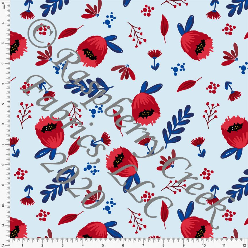 Light Blue Royal Blue Red and White Floral, By Brielle Carlson for CLUB Fabrics - Raspberry Creek Fabrics Knit Fabric