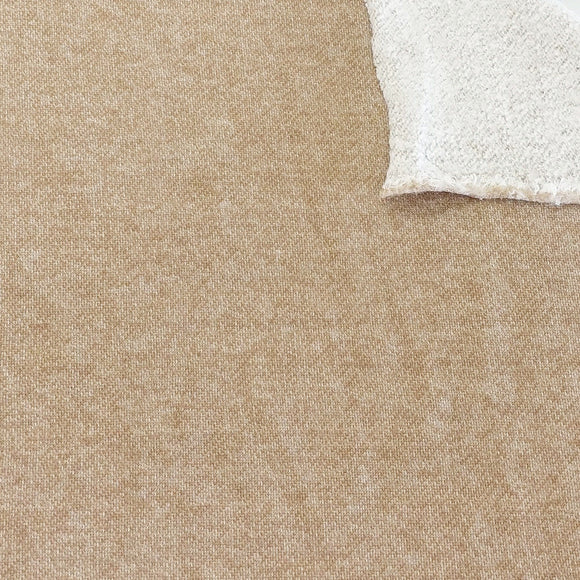 Light Camel Brown Brushed Heathered French Terry Knit Fabric - Raspberry Creek Fabrics