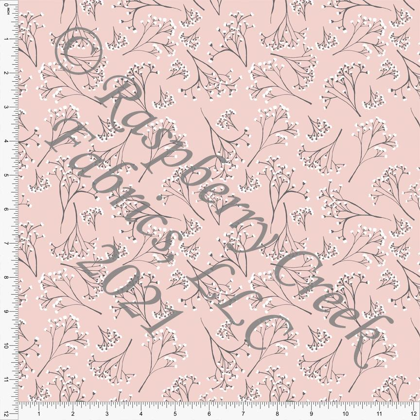 Light Coral Grey and Off White Baby's Breath Floral Print Stretch Crepe, By Courtney Graziano for CLUB Fabrics - Raspberry Creek Fabrics Knit Fabric