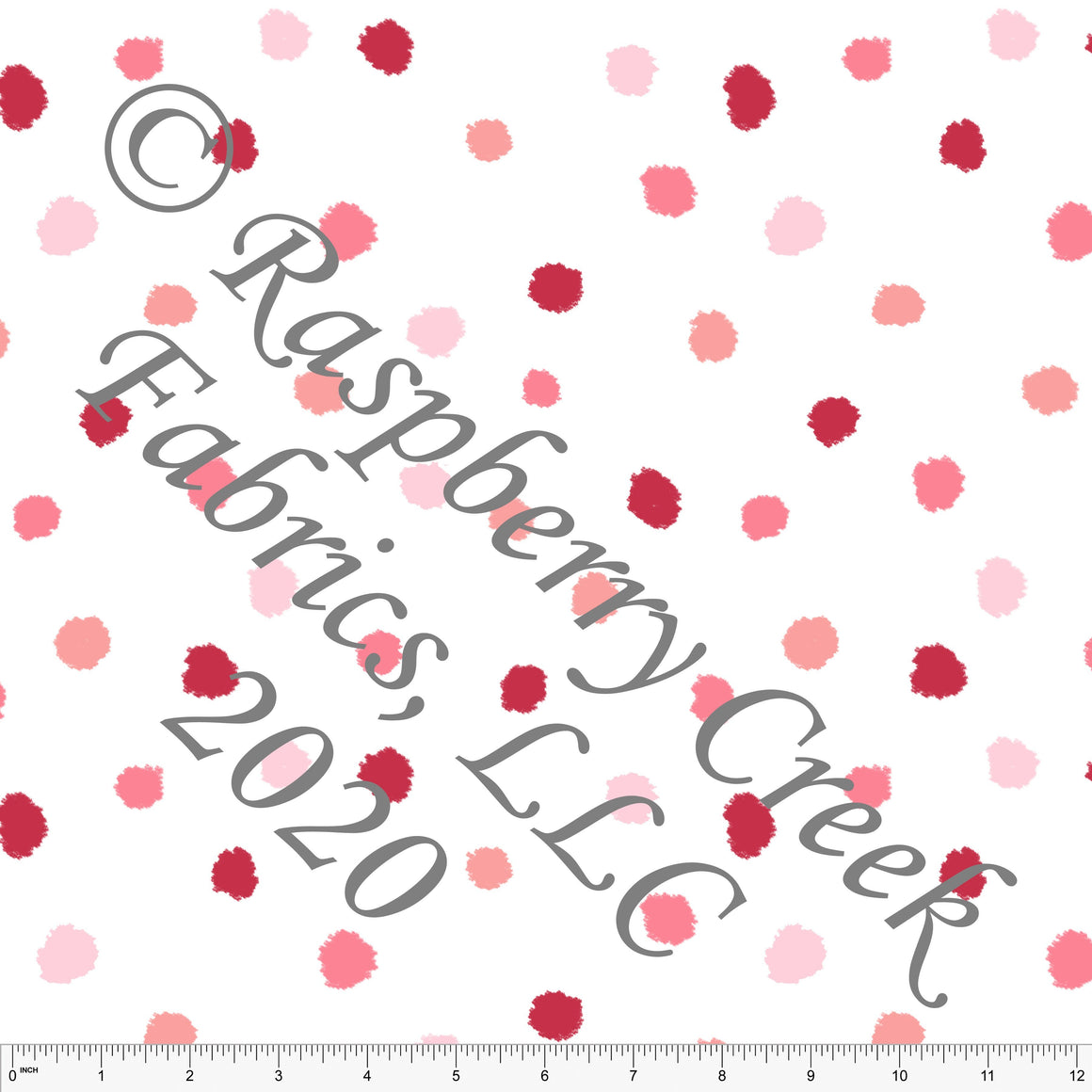 Pink Coral and Salmon Random Polka Dots, Club Fabrics - Raspberry Creek Fabrics