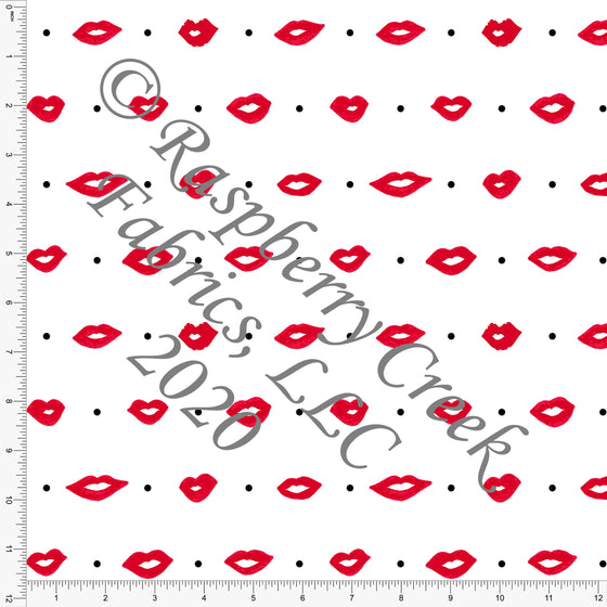Red Black and White Polka Dot Lips, By Kimberly Henrie for Club Fabrics - Raspberry Creek Fabrics