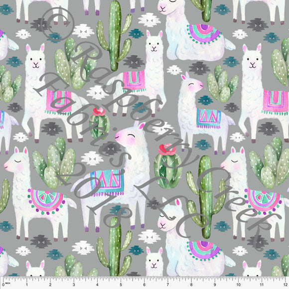 Grey Green Blue Pink and Green Llama Cactus 4 Way Stretch Jersey Knit Fabric, Watercolor Animals by Ella Randall for Club Fabrics