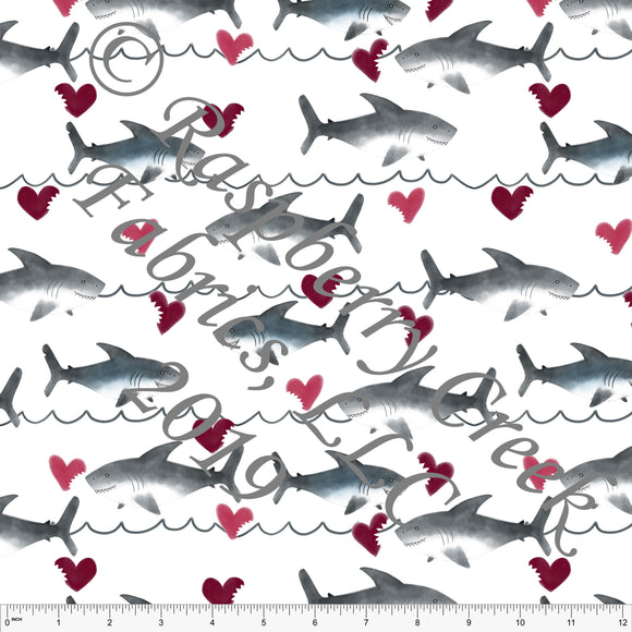 Burgundy Grey and Black Love Bites Sharks, By Kelsey Shaw for Club Fabrics - Raspberry Creek Fabrics