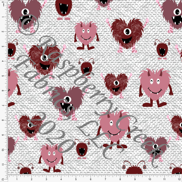 Burgundy Mauve Pink and Grey Valentines Love Bugs, By Kelsey Shaw For Club Fabrics - Raspberry Creek Fabrics
