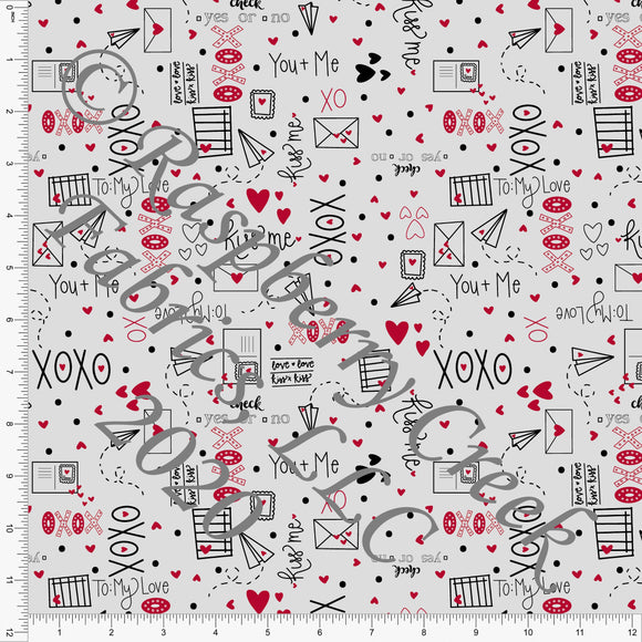 Black Red and Grey XO Love Letters on Double Brushed Poly, By Kimberly Henrie for Club Fabrics - Raspberry Creek Fabrics