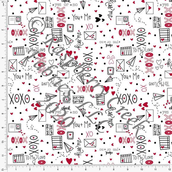 Black Red and White XO Love Letters, By Kimberly Henrie for Club Fabrics - Raspberry Creek Fabrics