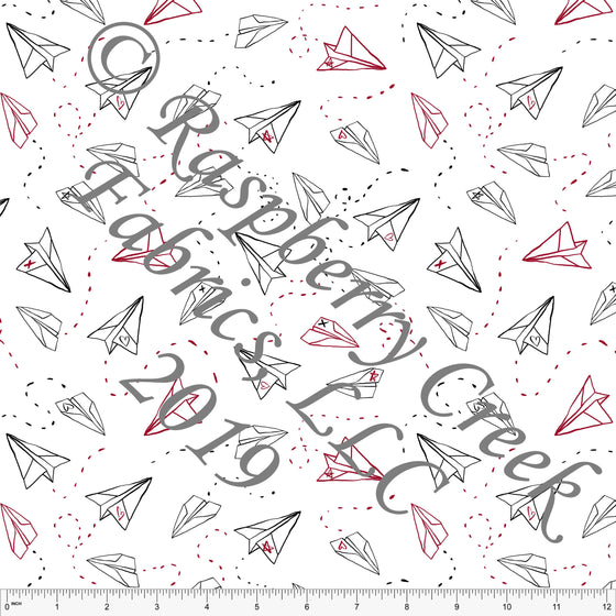 Black Red and White Love Letter Heart Paper Airplanes, By Brittney Laidlaw for Club Fabrics - Raspberry Creek Fabrics