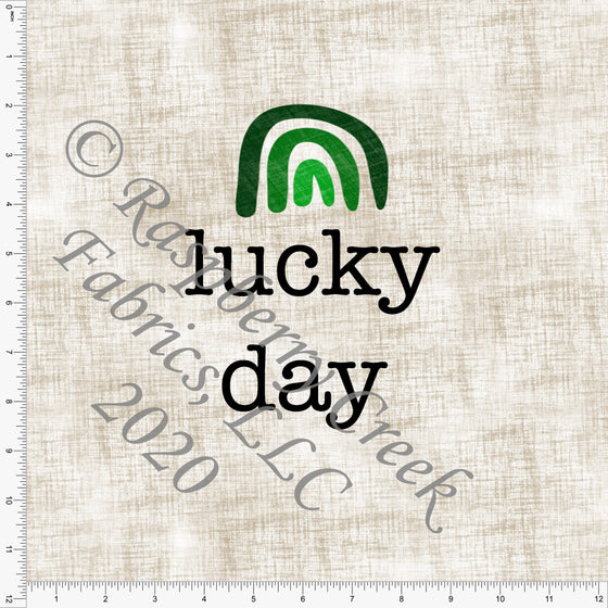 Tonal Green and Milk Chocolate Brown Lucky Day Rainbow Panel, By Kelsey Shaw for Club Fabrics CLUB