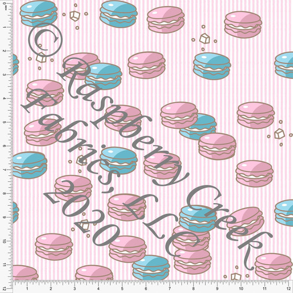 Pink and Light Blue Candy Stripe Macarons, Candy Shoppe By Bri Powell for Club Fabrics - Raspberry Creek Fabrics