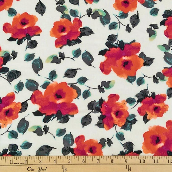 Magenta Orange Grey and White Watercolor Floral Rayon Challis, 1 yard