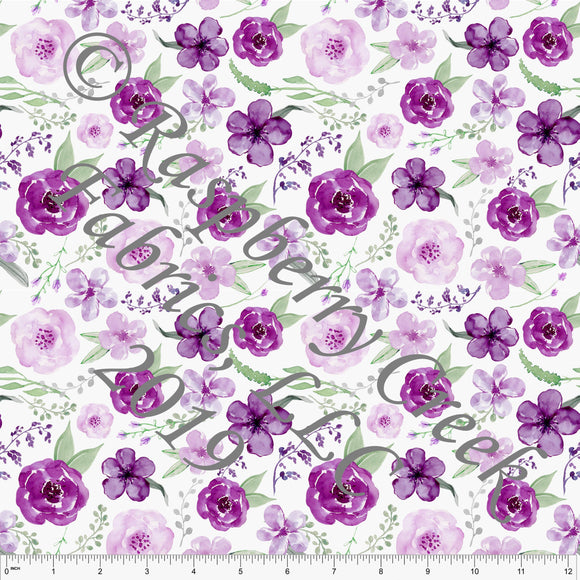 Magenta Sage Green and Grey Watercolor Floral 4 Way Stretch Jersey Knit Fabric, Florals for Club Fabrics
