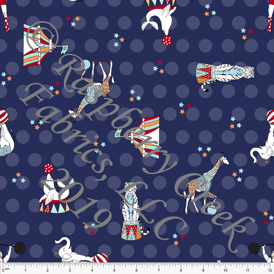 Tonal Navy Blue Polka Dot Circus Animal 4 Way Stretch MATTE SWIM Knit Fabric, By Kim Henrie for Club Fabrics