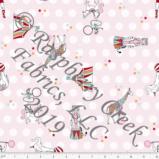 Tonal Pink Polka Dot Circus Animal 4 Way Stretch MATTE SWIM Knit Fabric, By Kim Henrie for Club Fabrics - Raspberry Creek Fabrics