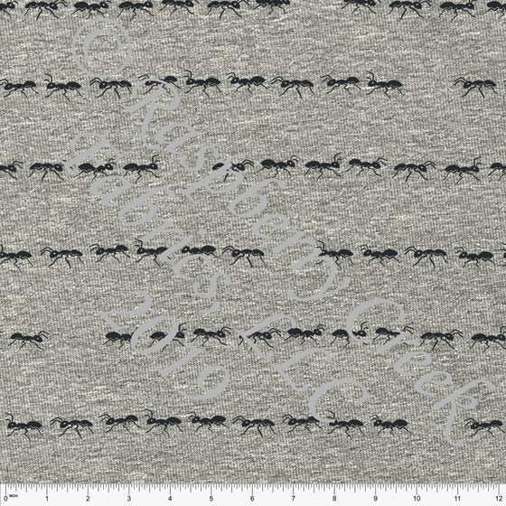 Charcoal Marching Ant Stripe on Heathered Grey 4 Way Stretch Jersey Knit Fabric, Spring Garden by Emily Ferguson for Club Fabrics