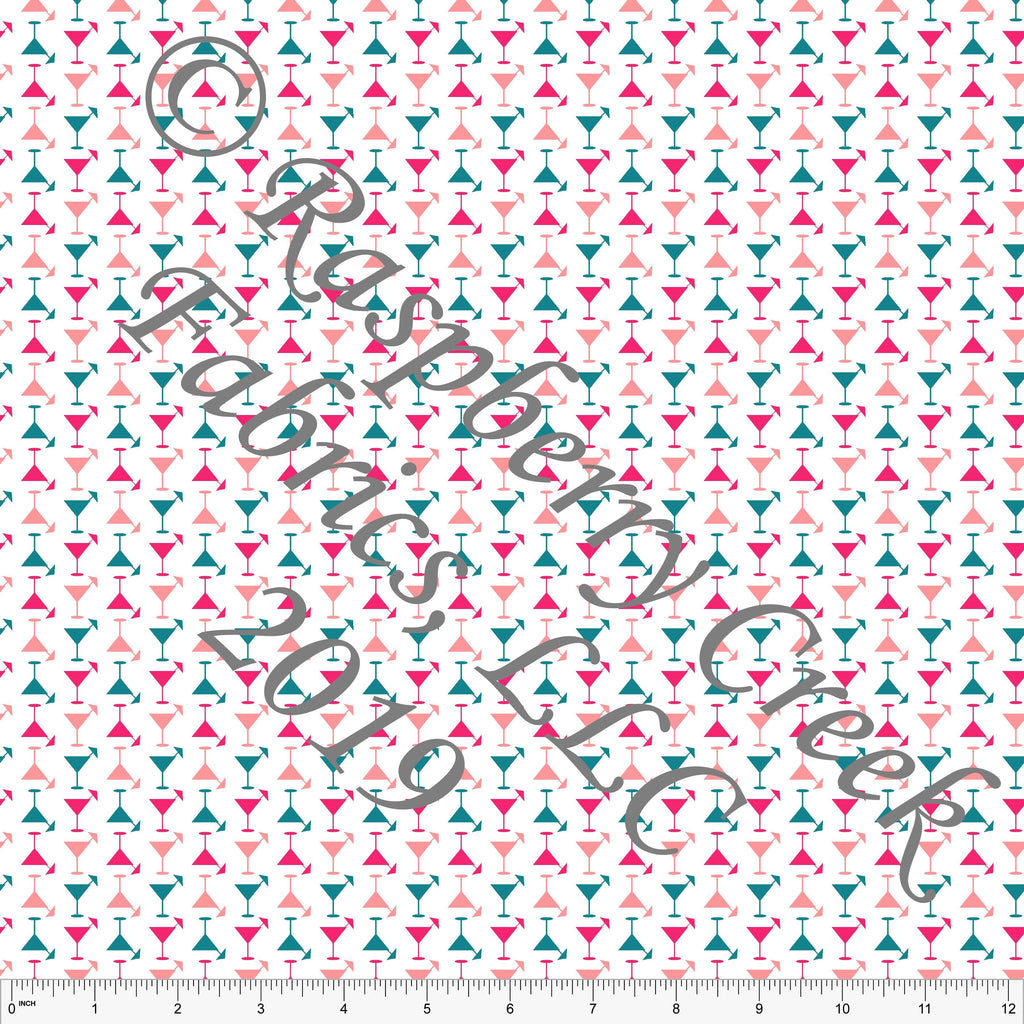 Teal Fuchsia and Coral Mini Martini Glass 4 Way Stretch MATTE SWIM Knit Fabric, By McKenzie Powell for Club Fabrics