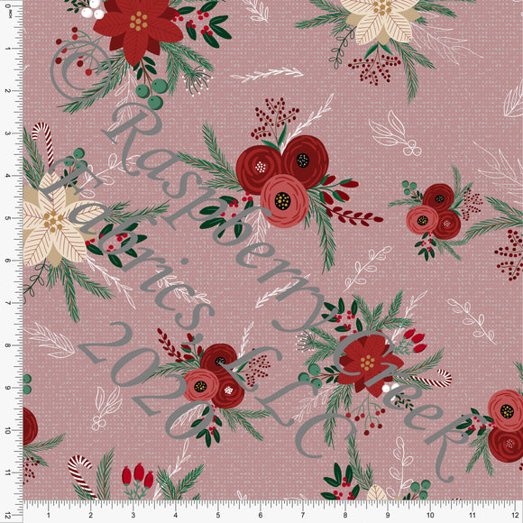Mauve Burgundy Red Green and Off White Poinsettia Floral Print Double Brushed Poly Knit Fabric, By Kelsey Shaw for CLUB Fabrics - Raspberry Creek Fabrics
