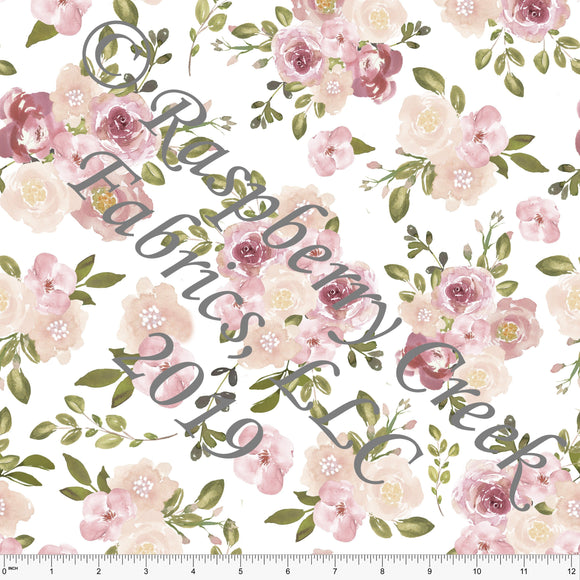 Blush Coral Olive Grey and White Watercolor Floral 4 Way Stretch MATTE SWIM Knit Fabric, Club Fabrics - Raspberry Creek Fabrics