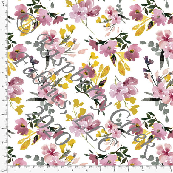 Mauve Mustard Black and Grey Watercolor Floral, Club Fabrics - Raspberry Creek Fabrics
