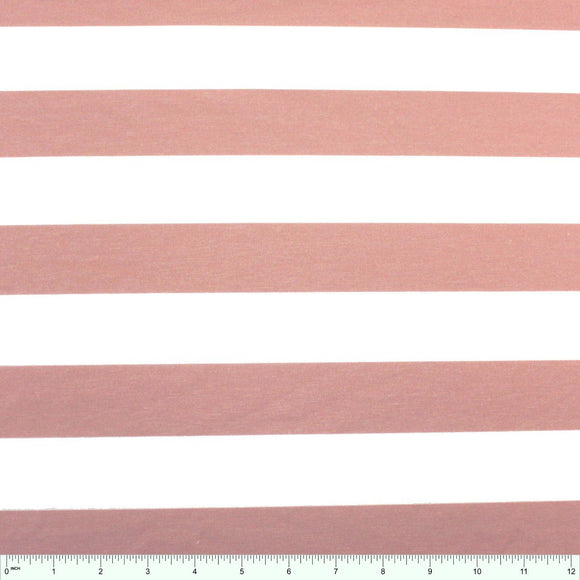 Blush Pink and White Wide Rugby Stripe 2 Way Stretch Poly Rayon Spandex French Terry Knit Fabric, CLUB Fabrics - Raspberry Creek Fabrics