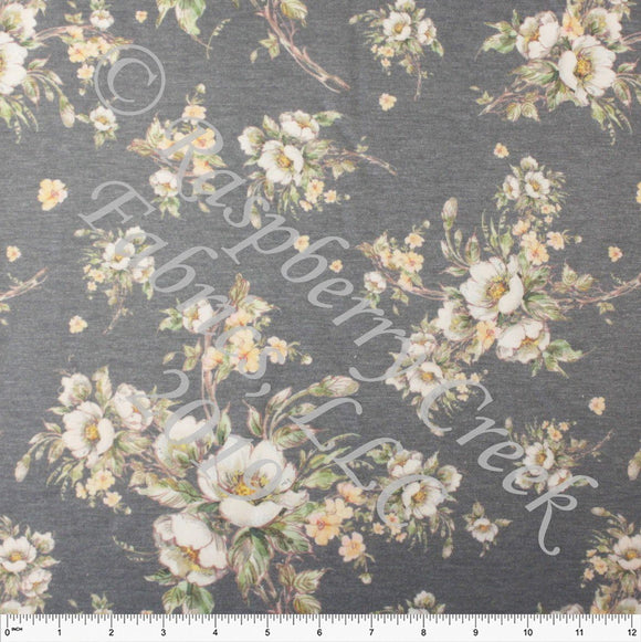 Medium Grey Cream Yellow and Green Floral Heathered FLEECE Sweatshirt Knit Fabric, CLUB Fabrics - Raspberry Creek Fabrics