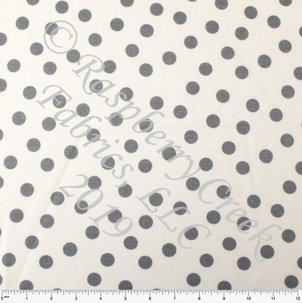 Medium Grey and Cream Random Polka Dot French Terry Fleece Sweatshirt Knit Fabric, CLUB Fabrics - Raspberry Creek Fabrics