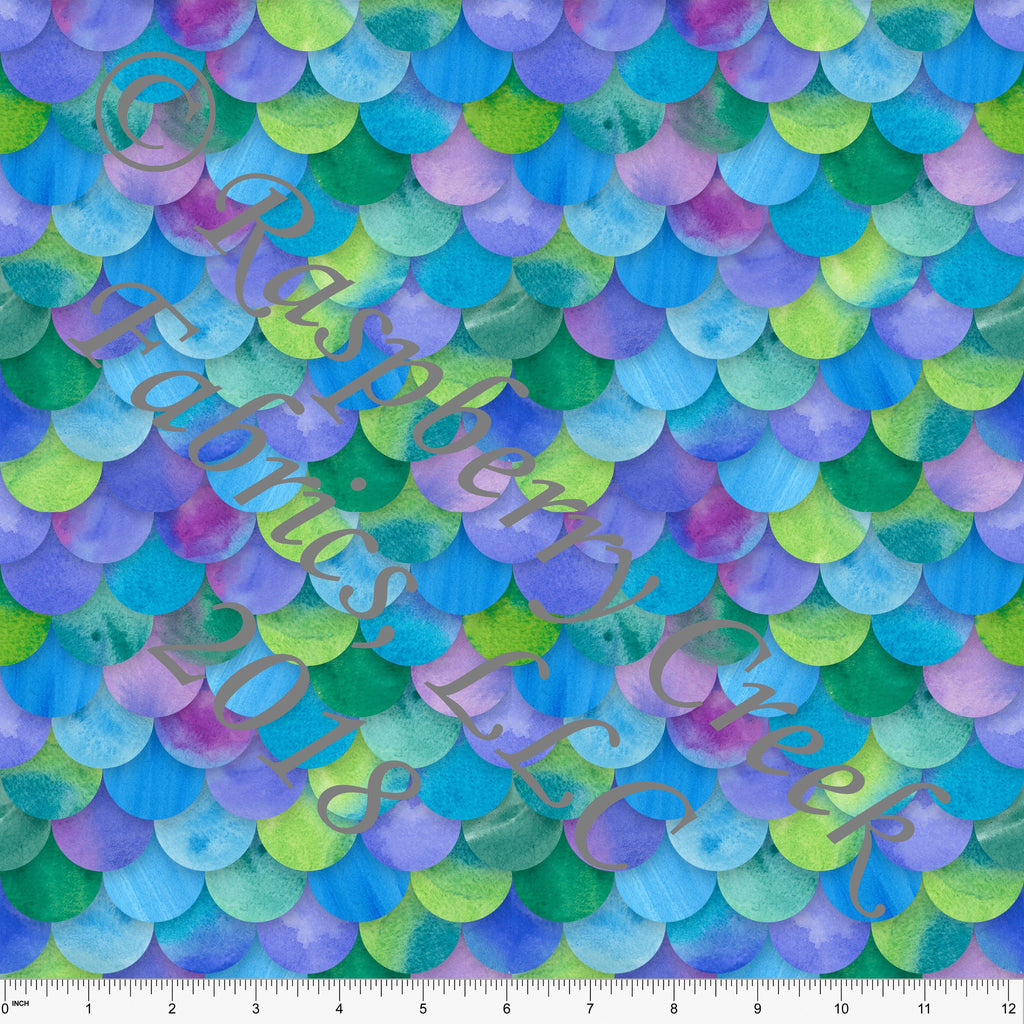 Teal Pink Purple and Green Watercolor Mermaid Scale 4 Way Stretch MATTE SWIM Knit Fabric, Club Fabrics