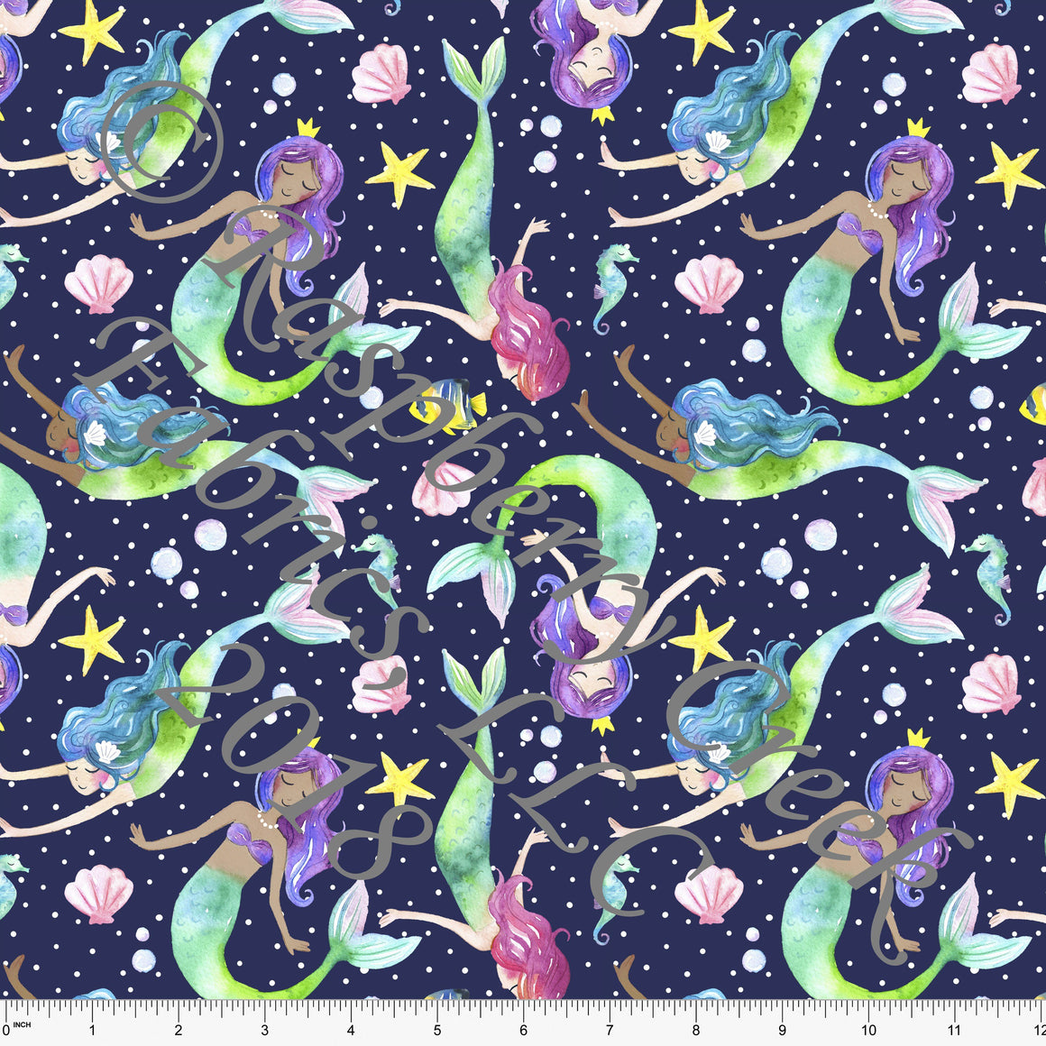 Navy Blue Pink Purple and Teal Mermaid 4 Way Stretch MATTE SWIM Knit Fabric, By Ella Randall For Club Fabrics