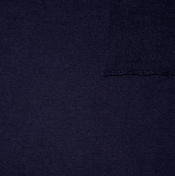 Solid Midnight Navy Blue 4 Way Stretch French Terry Knit Fabric With Spandex, 1 Yard