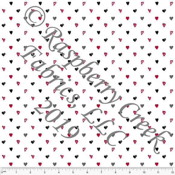 Black Red and White Mini Hearts for Club Fabrics - Raspberry Creek Fabrics
