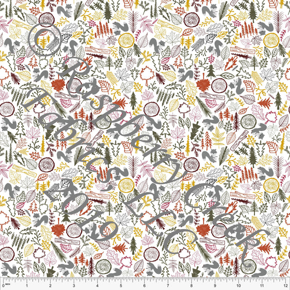 Rust Red Mustard Olive and Grey Mini Tossed Leaves and Squirrels By Courtney Graziano For Club Fabrics - Raspberry Creek Fabrics